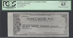 Lebanon - Intra Bank S.A Traveller's Cheque 20 Pounds ND Photographic Proof UNC