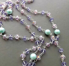 Unicorn colours glass pearl crystal bead long necklace . mint pink lilac jewelry