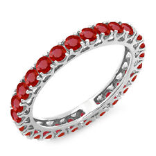 1.80 Carat 10K White Gold Ruby Ladies Eternity Wedding Stackable Band Size 6.5