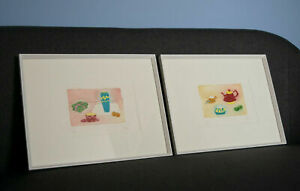 2 x Framed aquatint etchings by J. Ros of kitchen / food scenes - still life.