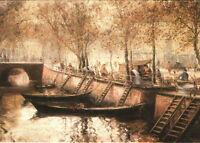 Histor. Potsdam, Fischmarkt am Kanal , Künstlerkarte v. Gerhard Geidel