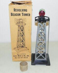 Marx O Ga. Revolving Beacon Tower w/ Bulb, Beacon & Box WORKS