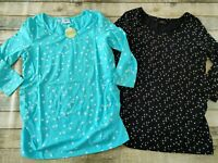 Maternity Organic Cotton Tops Twin Pack Black & Turquoise Size 10/12 Small New