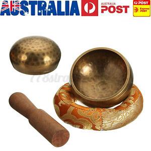 Hand Hammered Singing Bowl Cushion Stick Buddhism Chakra Tibetan Meditation ~