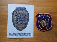 PATCH POLICE HAMPTON VIRGINIA STATE + Presentation Folder Booklet