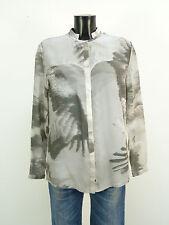 Lala Berlín Seiden blusa talla S/gris con patrones & 100% seda-noble (m 8251)