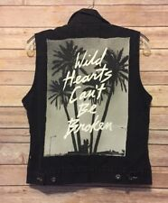 GLAMOUR KILLS denim vest wild hearts cant be broken MEDIUM coachella festival