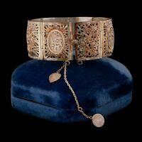 Antique Vintage Deco Sterling 900 Silver Chinese Export Four Seasons Bracelet