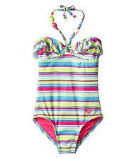 NEW* ROXY SWIMSUIT 1 PC $44 Retail GIRLS 5 Blue Pink Stripe Multicolor