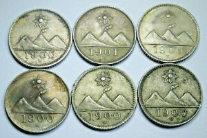 Lot of 6 1900 Guatemala 1/4 Reales Antique Volcano Mountain Sun Genuine Coins