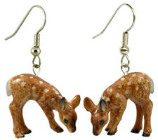 New NORTHERN ROSE Porcelain Earrings DEER FAWN Figurine Figure Jewelry ANIMAL