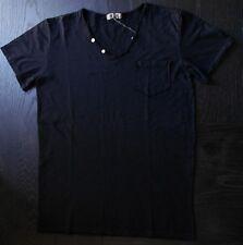 T-shirt uomo Nero, Made in Italy, scollo a v bottone e taschino 100% cotone