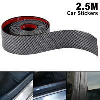 5CM*2.5M Carbon Fiber Rubber Car Strip Trim Bumper Sticker Sill Protector W6