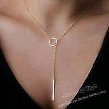 """Women Gold Filled Bar Circle Pendant Lariat The Necklace with 20"""" Chain Jewelry"""