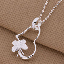 925 Sterling Silver Plated Cute Women Heart Flower Necklace