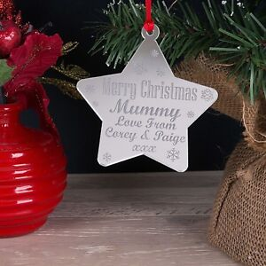 Personalised Christmas Tree Decoration Mummy, Daddy Mirror Xmas Star Bauble Gift
