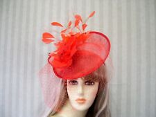Red Sinamay Fascinator, Red Society, Belmont Hat, Wedding Hat, Tea Party, Ascot