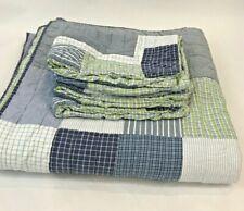 Pottery Barn Kids Full Queen Quilt & Pillow Shams Plaid Blue Green Hayden Check