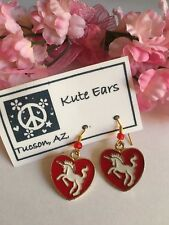 "Glodtone Red Heart with White Unicorn 3/4"" Dangle Earrings"