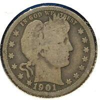 1901 25C Barber Quarter (60686)