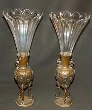 A Chine jolie paire vases cornets trépied bronze cristal 43cm 3.4kg déco chic