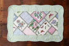 Floral Square Patchwork Quilted Green Cotton Bedroom Bath Door Mat Rug Shabby D8