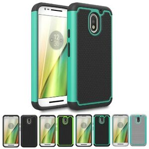 For Motorola Moto E3 Shockproof Hybrid Hard Grid Armor Protective Case Cover