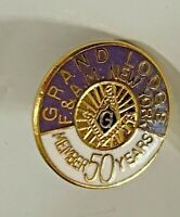 Vintage Lapel Pin Grand Lodge F. & A. M. New York member 50 years