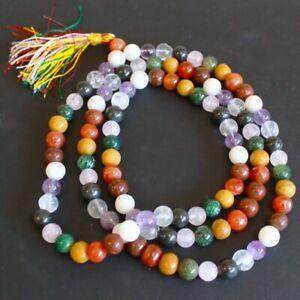 Crystal Gemstone Mala 108 Prayer Beads Hindu Buddhist Mantra Chanting Bracelet
