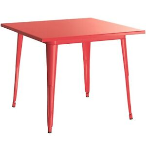 """24"""" Square Red Metal Garden Patio Restaurant Dining Table For Outdoor Use"""