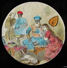 COLOUR Glass Magic Lantern Slide DICK WHITTINGTON NO5 C1890 VICTORIAN DRAWING
