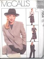 McCall's 7954 Misses Lined Jacket, Top, Pants and Pull-On Skirt  Sewing Pattern