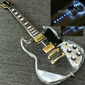 Custom LED Light Electric Guitar Maple Acrylic Body Crystal Guitar Sweet Tone SG