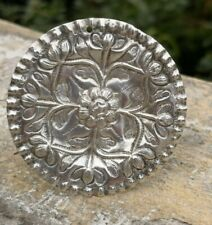 "VTG MINIATURE STERLING SILVER FLORAL EMBOSSED ROUND PLATTER 2"" DOLLHOUSE"