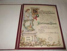 1909 signiertes Aquarell DRESDEN TRACHAU Pieschen Urkunde ERNST AUGUST BELLMANN