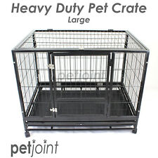 Large Strong Heavy Duty Pet Puppy Dog Cat Rabbit Crate Cage Kennel House Castor