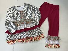 Unbranded Girls 6-7 Long Sleeve Ruffle Outfit Gray Chveron And Floral Fall