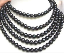 "Cultured Pearl Necklace 80"" Long 7-8Mm Black Akoya"