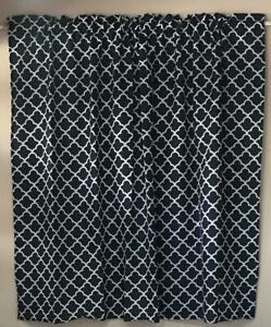 new kitchen bathroom living  window ready to hang curtain easy care navy blue
