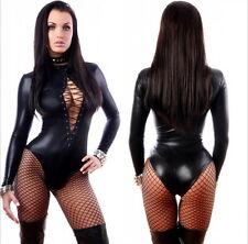 Sexy Lingerie Look PVC Faux Leather Bodysuit Catsuit Teddie Dress Club Wear 1066