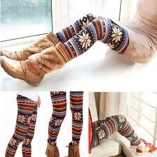 UK Fashion Hot Knit Elastic Snowflake Autumn Winter  Pants Trousers Leggings