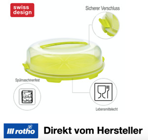 Rotho Fresh flache Tortenglocke  Haube Tragegriff Behälter Kuchen Box Transport