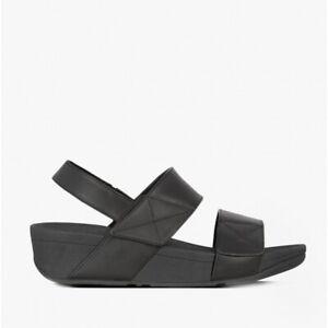 FitFlop MINA Ladies Stylish Premium Leather Back Strap Sandals All Black