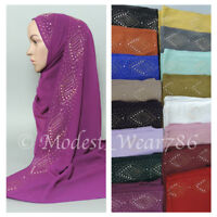 High Quality Chiffon Hijab Shayla  Scarf Muslim Headcover Rhinestones 20 Colors