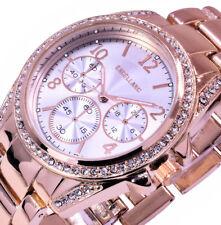 Excellanc Damen Uhr Armbanduhr Rose Gold Silber Farben Metall Strass GS-2