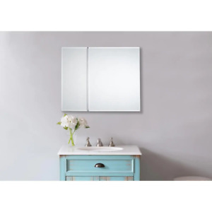 30 in. x 30 in. Frameless Recessed or Surface-Mount Bi-View Bathroom Medicine Ca