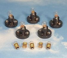 LOT 5 MINIATURE E10 SCREW BASE LAMP SOCKET HOLDERS w/ 10 BULBS for LIONEL TRAINS