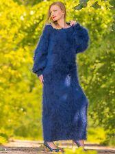 Deep blue hand knit slouchy long mohair sweater dress fuzzy gown SUPERTANYA SALE