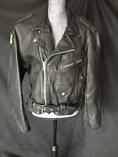 "Vintage Men's Leather Motorcycle Jacket Embroidered ""FLESH AND BONE"""