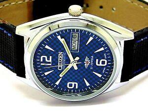 citizen automatic men steel blue dial vintage day/date japan wrist watch run e